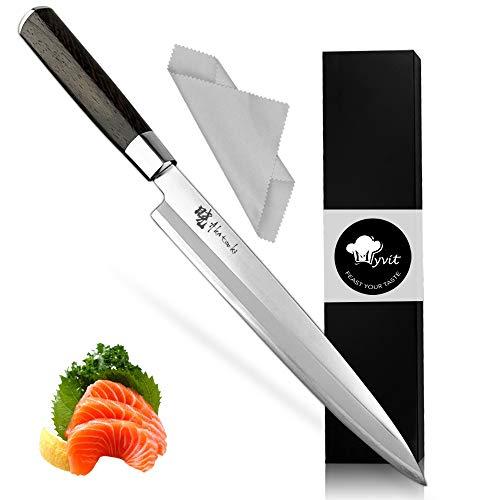 MYVIT Sushi Knife Japanese Sashimi Knife Chef Knife 8.5 inch Pro Cooking Fish Filet Knives [Cleaning Cloth]