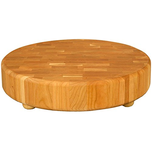 (Catskill 71315 Round Slab End Grain Chopping Block With Feet One Size Brown)