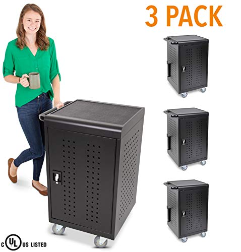 3 Pack Line Leader Compact Mobile Charging and Storage Cart, Mobile Lab Holds 30 Tablet/Chromebook - Includes Two 15-Outlet Power Strips - Locking Cabinet - Perfect for Schools and Classrooms