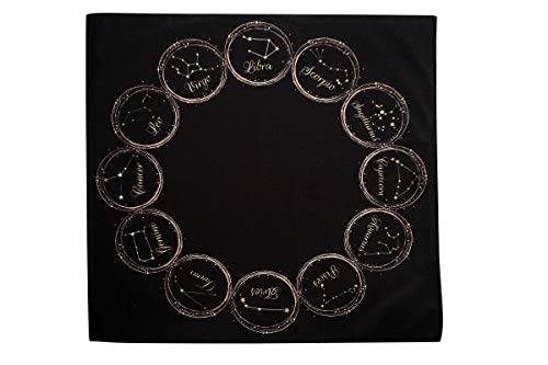 Altar Tarot Cloth with Zodiac Constellations (Large 24 inches x 24 inches) (Black) ()