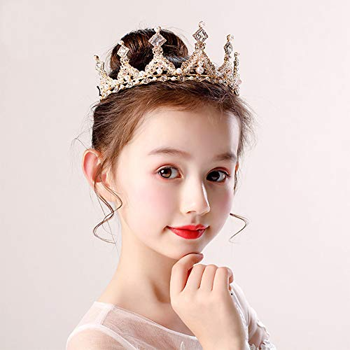 (Little Baby Girl Princess Wedding Tiara Crowns Bridal Flower Headband Hair Vines Accessories Diamond Crown for Teen Girls Birthday(Gold))