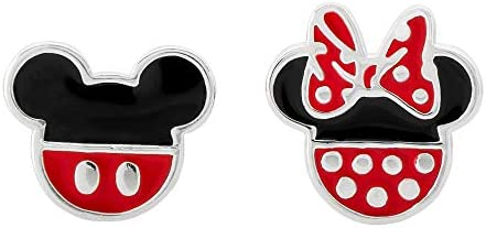 Disney Mickey Mouse and Minnie Mouse Mismatched Silver Plated Stud Earrings; Jewelry for Women and Girls