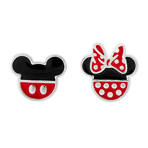 Disney Mickey Mouse and Minnie Mouse Mismatched Silver Plated Stud Earrings; Jewelry for Women and Girls from Disney