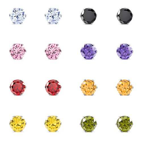 16PCS Stainless Steel Stud Earrings CZ Round Square Royal King Crown Set (8 Pairs) ()
