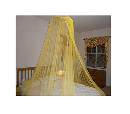 (Hoop Bed Canopy Mosquito Net for Crib, Twin, Full, Queen or King Size Bed and Travel Outdoor Events (Yellow))