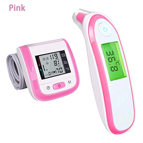 Mele & Co. Non-Contact Electronic Thermometer, Household Wrist Electronic oximeter and Ear Thermometer Monitor Set,Pink ()