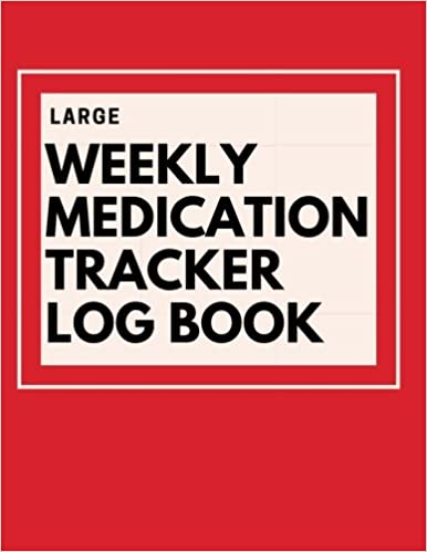 large weekly medication tracker log book red large print daily