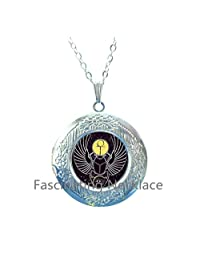 Wholesale Glass Cabochon Dome Jewelry Egyptian Scarab ankh Art Glass cabochon Locket Necklace Handmade,AE0110