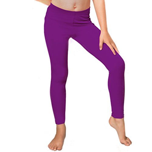 Stretch is Comfort Girl's Cotton Footless Leggings Purple X - Purple Stretch Pants