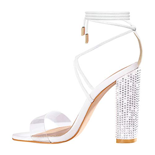 OLCHEE Women's Fashion Rhinestone Block High Heel Sandals - Clear Lace Up Ankle Strap Diamante Heels - White Size 8