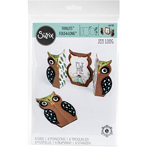 Sizzix 661138 Card Owl Label Fold-a-Long Thinlits Die Set by Jen Long (6 Pack)