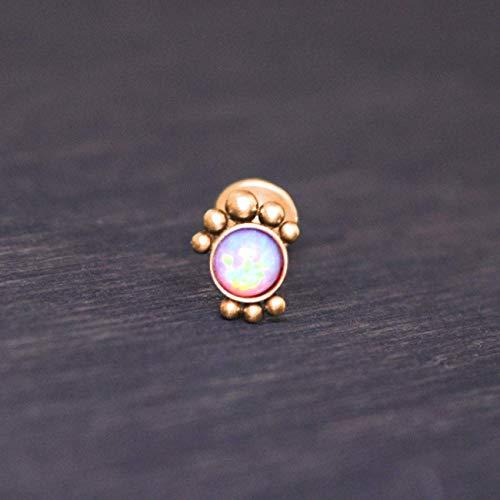(Internally Threaded Labret Stud - Surgical steel lip piercing, monroe earring with Opal, medusa jewelry)