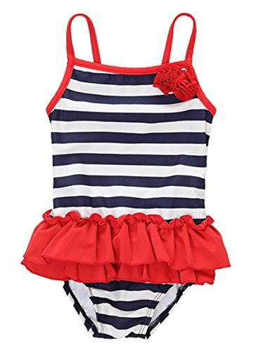 BeautyIn Kids Swimwear Girls One Piece Swimsuit Cute Striped Ruffle Swimming Costume, Multicolor, 6-9 (Cute Monster Costumes For Girls)