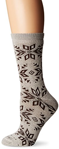 Crew Hiker Khaki (Sockwell Women's Winterlust Snowflake Patterned Hiker Crew Socks, Khaki, Medium/Large)