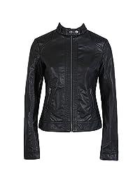 DADAWEN Women's Black Slim Motorcycle Soft PU Leather Short Jacket Coat