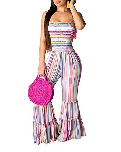 MS Mouse Women's Rainbow Print Stripes Wide Legs Pants Romper Jumpsuits S