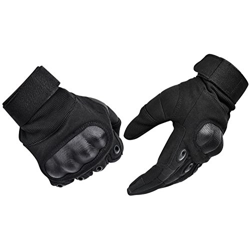 Tactical Gloves , ADiPROD (1 Pair) Hard Knuckle Full Finger for Outdoor Shooting Army Airsoft Gear (Black, Medium) (Plastic Mens Glove)