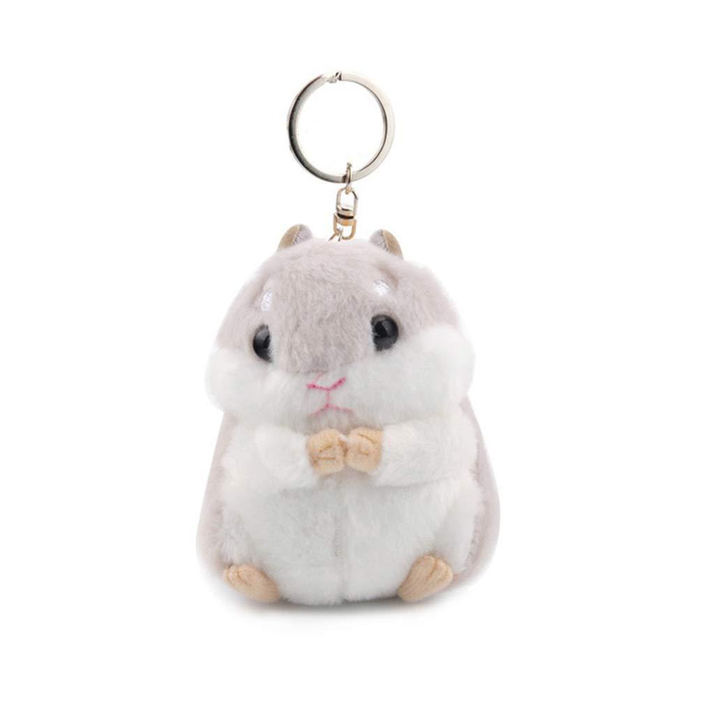 LIXIAQ1 Women Fluffy Keychains Hamster Animal Key Chain For Girls Pompom Plush Car Key Ring Purse Pendant Pom Pom Keyrings Jewelry,Brown keychain