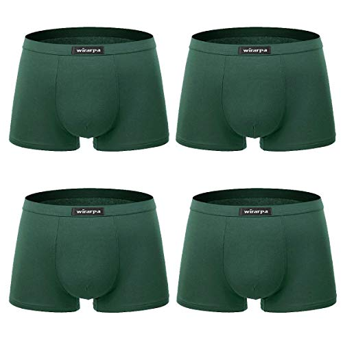 (wirarpa Men's Soft Stretchy Underwear Modal Microfiber Trunk Briefs Covered Waistband 4 Pack Deep Green, XXX-Large)