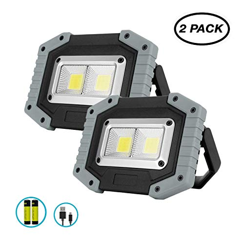 Portable LED Work Light, XQOOL 2X COB 30W Rechargeable 1500LM LED Flood Lights Waterproof Work Lamp with Stand Built-in Power Bank Job Light for Indoor Outdoor Lighting (Grey, 2 Pack)