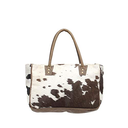 Myra Bags Bucket Genuine Leather with Animal Print Tote Bag ()
