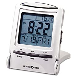 Howard Miller® - Distant Time Traveler Alarm Clock, 2-1/4in, Silver, 1 AAA (incl) - Sold As 1 Each - Illuminated time, date, day and temperature display.