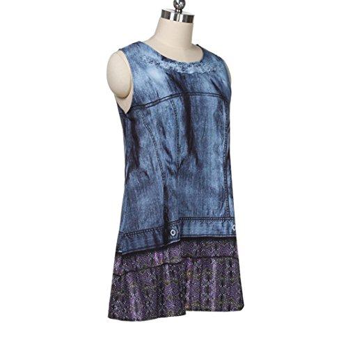 Vintage Boho Manches LUCKYCAT Sexy Femmes Imprim Mini Robe Bleu Femmes Courte D't Sans FEtqtxr