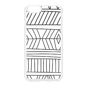 Hand Drawn Tribal Aztec Black and White Pattern White Hard Plastic Case for iPhone 6 by UltraCases + FREE Crystal Clear Screen Protector
