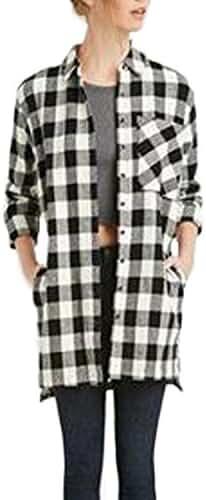 ZANZEA Women's Plaid Check Lapel Long Sleeve Irregular Loose Button Down Shirt