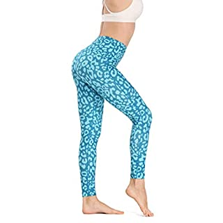 High Waist Leggings, Tummy Control 4 Way Stretch Yoga Pants for Women, Leopard Style Workout Leggings - Blue