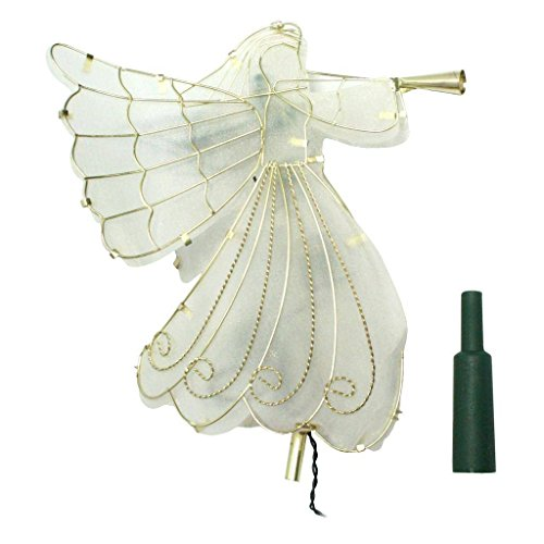 BRITE Star 42-486-00 11'' LED Gold Shimmer Angel Christmas Tree Topper-Warm Clear Lights by Brite