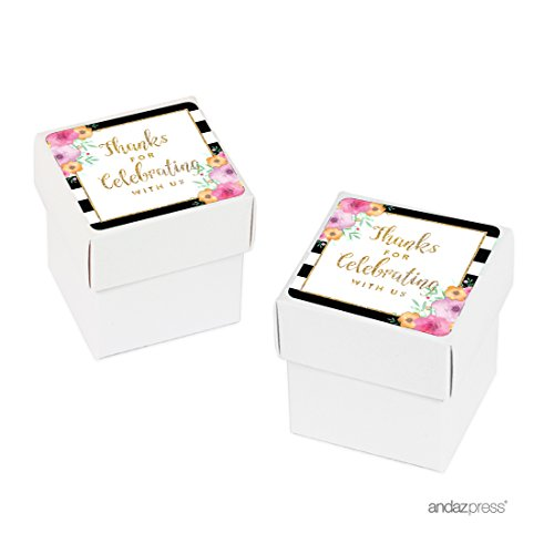 Andaz Press Floral Gold Glitter Print Wedding Collection, Favor Box DIY Party Favors Kit, Thank You, (Gold Stationery Boxes)