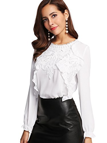 Romwe Women's Elegant Long Sleeve Applique Keyhole Ruffle Blouse Tops White Small (Ruffle Long Blouse Sleeve White)