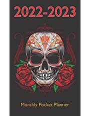 2022-2023 Monthly Pocket Planner: Sugar Skull with Flower Cover Design, 2 Year Monthly Planner with Federal Holidays | Schedule Organizer Small Size for Purse | Birthday, Contact, Password Log and More