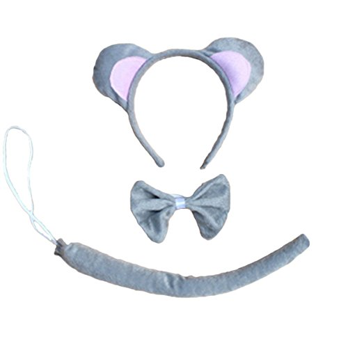 Wolf Ears Tail Costume Set (Kinzd Kids Mouse Dalmatian Antlers Wolf Tiger Party Halloween Christmas Costume (Grey Mouse))