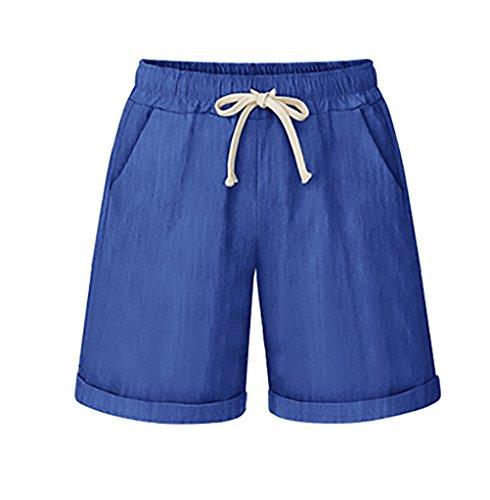 Corto Costume Forti Taglie Plus Coulisse Casual Solido Size Estivi Elegante Shorts Larghi Ragazza Donna Abbigliamento Pantaloni Blu Adelina cnfqP144