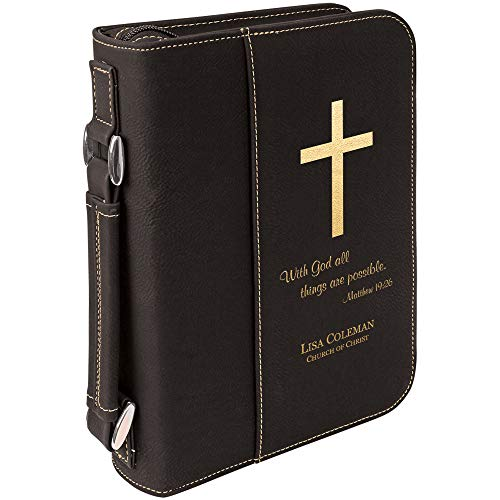 (with God All Things are Possible | Holy Bible Cover with Cross | Personalized (Black Gold))