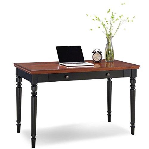 Leick 83410 Farmhouse Turned Leg Black Two-Tone Laptop Desk with Center Drawer (Turned Table Leg)