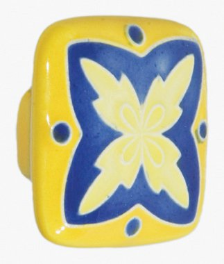- Acorn Manufacturing PS8YP 1.875 Inch Large Square Knob, Yellow/Blue Finish