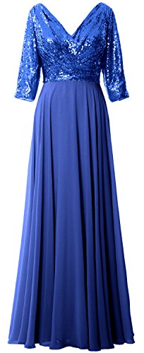 Gown Chiffon Mother 4 Blue Sleeve Dress Formal Women Royal V Neck 3 Sequin Wedding MACloth EzqxZwY7n
