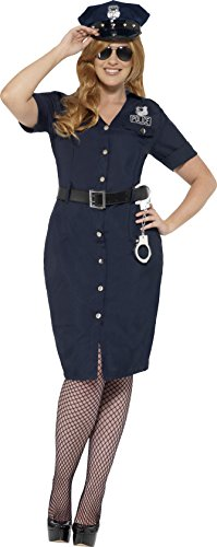 [Smiffy's Women's NYC Cop Costume, Dress, Belt and Hat, Cops and Robbers, Serious Fun, Size 14-16,] (Costumes For Women Cop)
