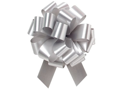 Silver Color 5.5 Inch 20 Loop Pull Bows 10 Pack Gift Wrap Christmas Wedding Gift Wrap Pull Bows Large Pull String Bows by A1 Bakery Supplies