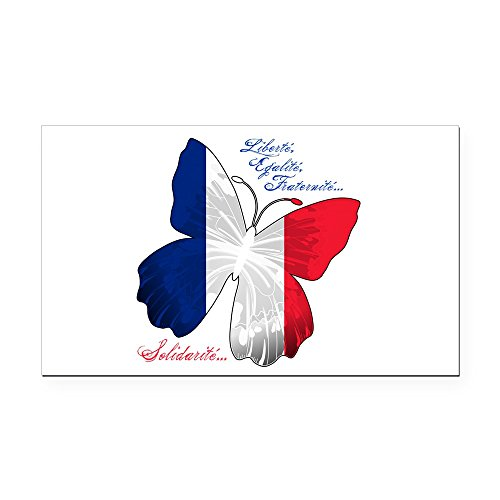 (Rectangle Car Magnet French Flag Butterfly Solidarite)
