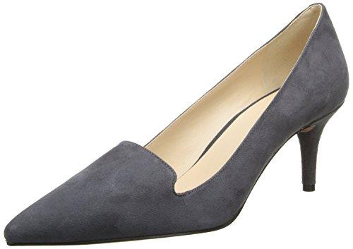 uBeauty Damen Stilettos Slip On Klassik Pumps Mid Heels Spitze Zehen Büro Übergröße Schuhe Grau