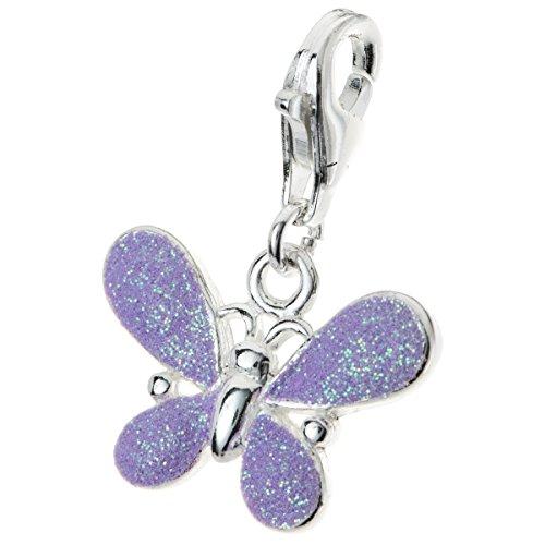 Dreambell 925 Sterling Silver Butterfly Purple Enamel Glitter Clasp European Lobster Clip On Charm (Charm Lobster Silver)