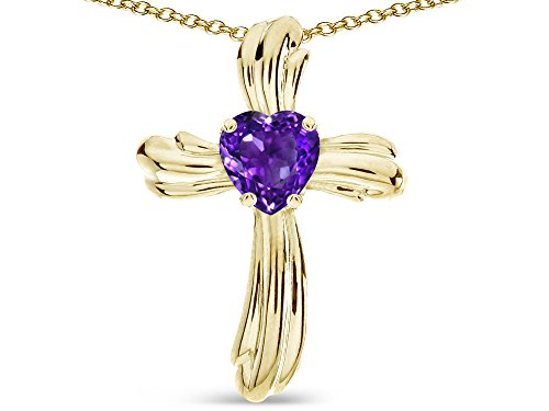 - Star K Heart Shape 6mm Genuine Amethyst Ribbed Cross Of Love Pendant Necklace 10k Yellow Gold