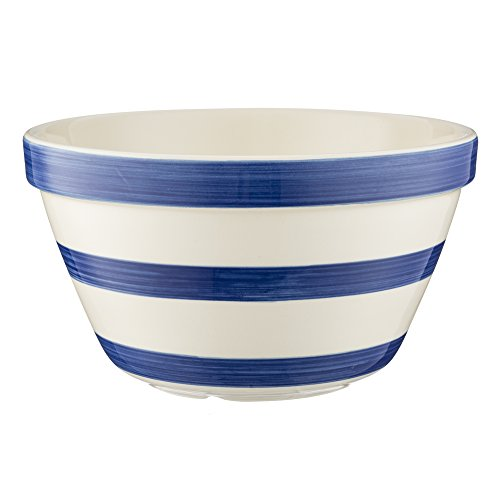- Mason Cash Stripes All Purpose Bowl; Hand Painted; Made from Chip Resistant Earthenware; S24, 8-Inches by 4-1/4-Inches; White with Navy Stripes