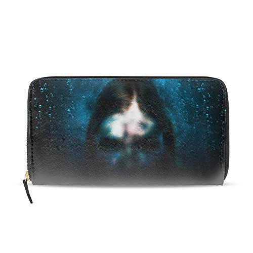 Women Wallet Multi-card Three Fold Long Zipper Clutch Purse,Scary Halloween Face ()