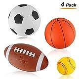 Liberty Imports Set of 4 Soft PU Mini Sports Balls for Kids (Football, Basketball, Soccer, Baseball) by