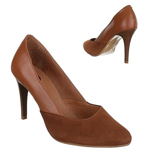 Ital-Design High Heel Leder Damenschuhe Pfennig-/Stilettoabsatz High Heels Pumps Camel